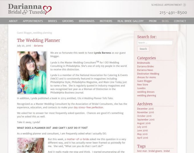 Darianna Bridal & Tuxedo – Guest Blogger