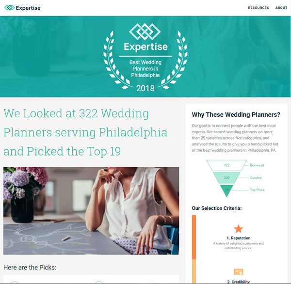 Expertise – Top 19 Philadelphia Area Wedding Planners