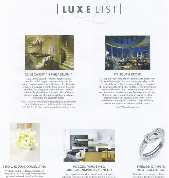 "Philly Style ""Luxe List"" – March 2010"