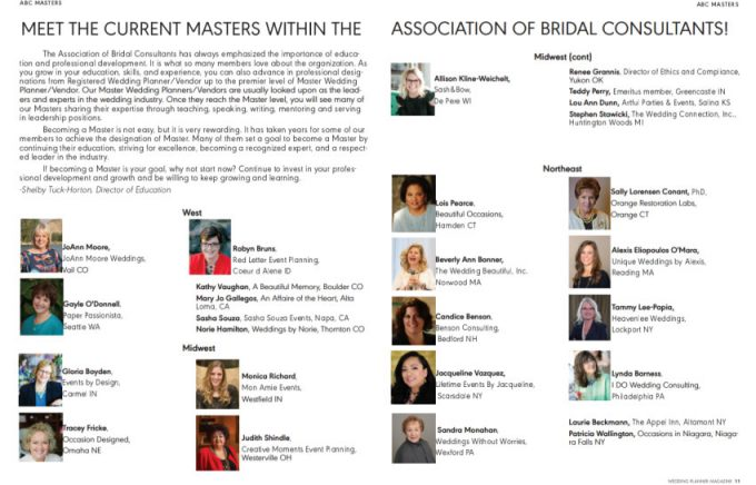 Masters Within The Association Of Bridal Consultants