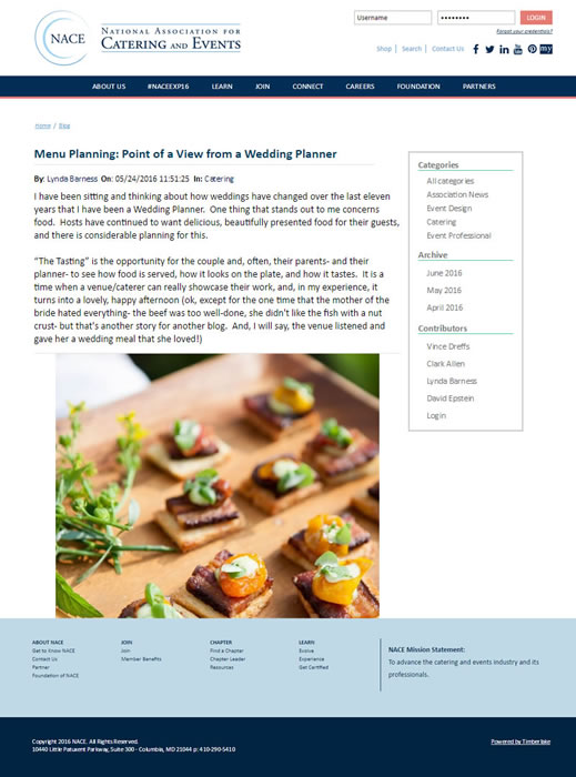 National Association For Catering & Events – Menu Planning