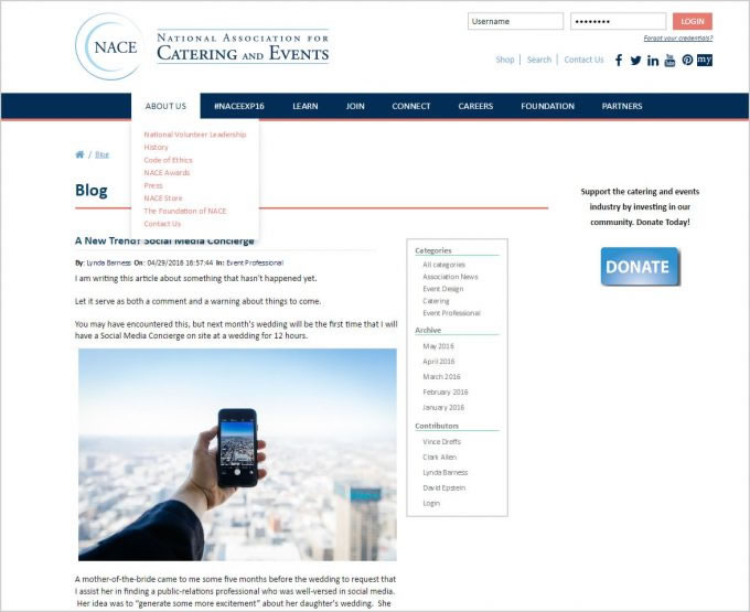 National Association For Catering & Events – Social Media Concierge