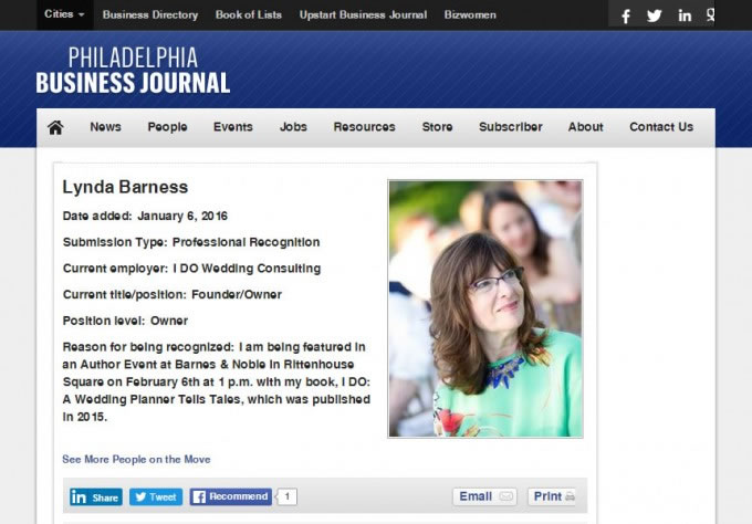 Philadelphia Business Journal – Recognition For Barnes & Noble Book Signing