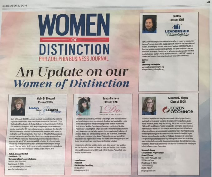 Philadelphia Business Journal – Women Of Distinction