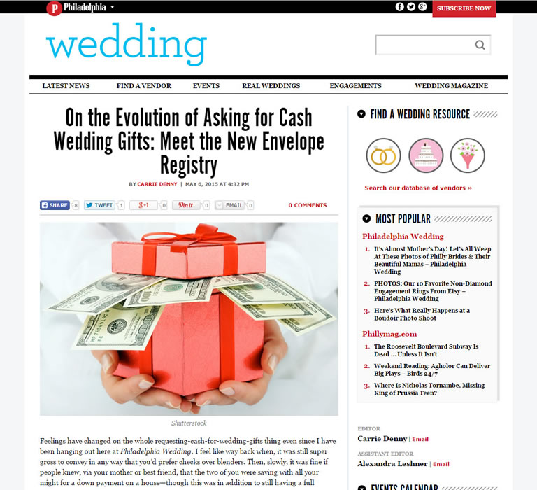 Wedding Gift Registry Asking For Money : ... of Asking for Cash Wedding Gifts: Meet the New Envelope Registry