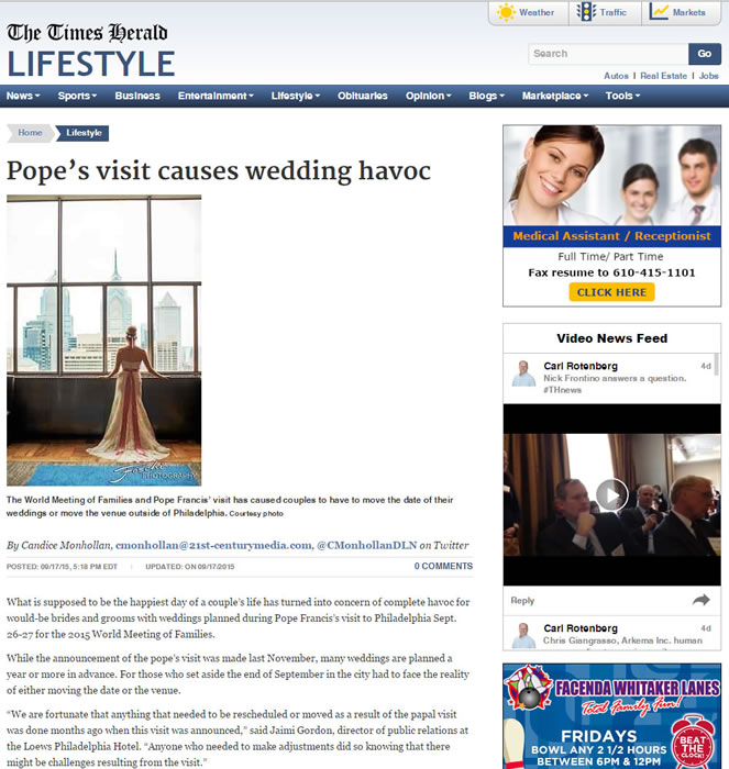 Times Herald – Pope's Visit Causes Wedding Havoc