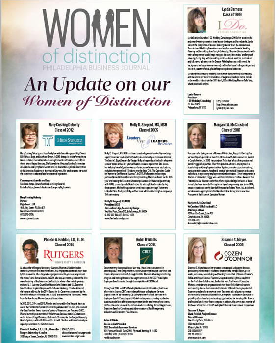 Philadelphia Business Journal – Women Of Distinction Fall 2015